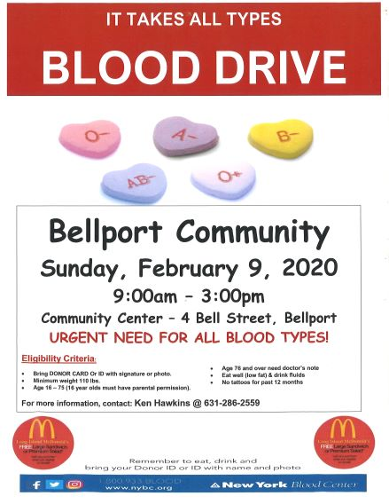 Blood Drive - February 9, 2020 9:00 am to 2:30 pm in Community Center
