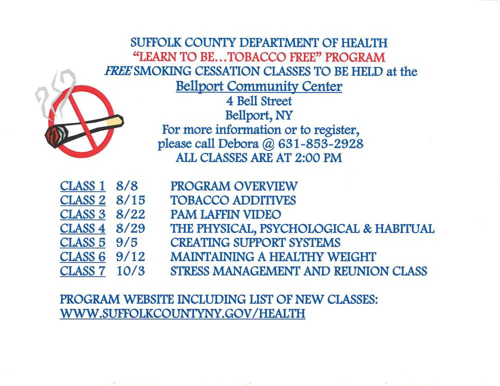 """Suffolk County Department of Health """"Learn To Be...Tobacco Free"""" Program"""